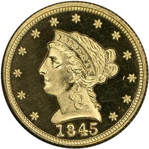 1845 $2.5 PF obverse