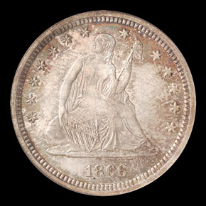 1866 MOTTO 25C MS obverse