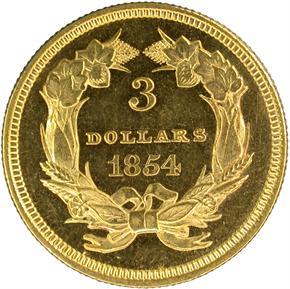 1854 $3 PF reverse