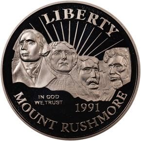 1991 S MOUNT RUSHMORE 50C PF obverse