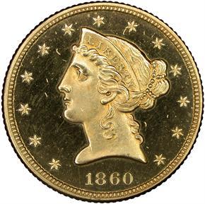 1860 $5 PF obverse