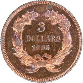 1865 J-441 $3 PF reverse