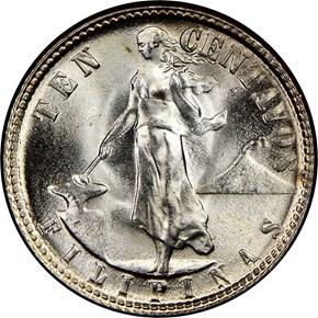 1945 D USA-PHIL 10C MS obverse