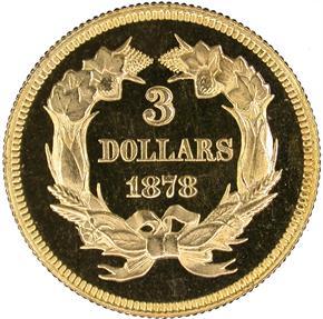 1878 $3 PF reverse