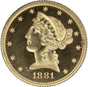 1881 $5 PF obverse