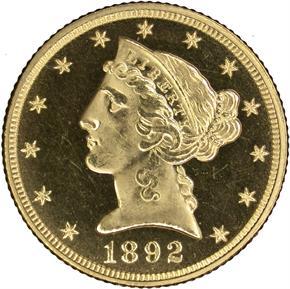 1892 $5 PF obverse
