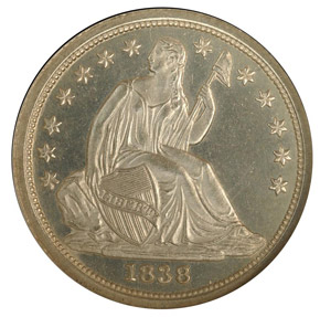 1838 10C PF obverse