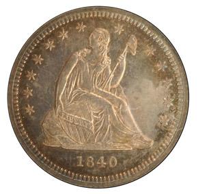 1840 DRAPERY 25C PF obverse