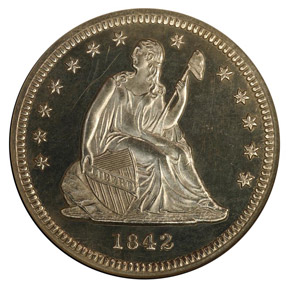 1842 SMALL DATE 25C PF obverse