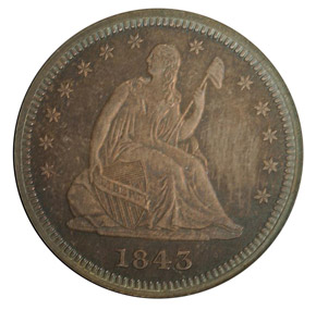 1843 25C PF obverse