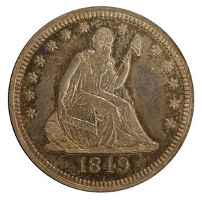 1849 25C PF obverse