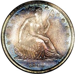 1842 SM DATE LG LET 50C PF obverse