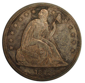1842 S$1 PF obverse