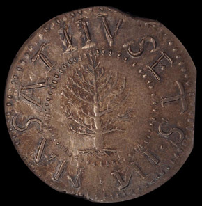 1652 'N' REV PINE TREE MASSACHUSETTS 1S MS obverse