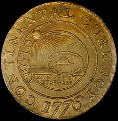 1776 BRASS 'CURENCY' CONTINENTAL S$1 MS obverse