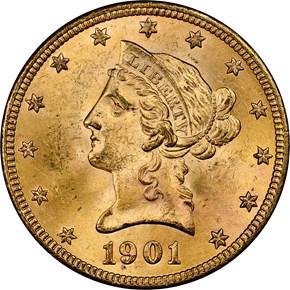 1901 $10 MS obverse