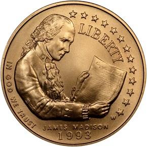 1993 W JAMES MADISON $5 MS obverse