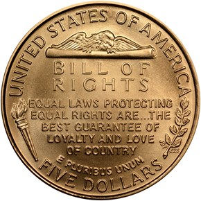 1993 W JAMES MADISON $5 MS reverse