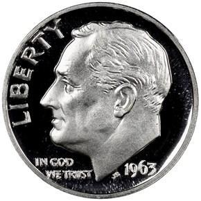 1963 10C PF obverse
