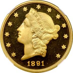 1891 $20 PF obverse