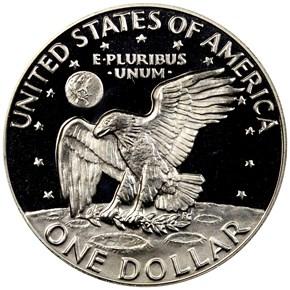1974 S SILVER $1 PF reverse