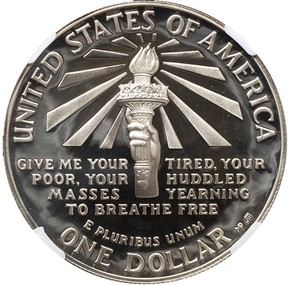 1986 S LIBERTY S$1 PF reverse