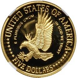 1986 W LIBERTY $5 PF reverse