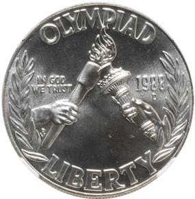 1988 D OLYMPICS S$1 MS obverse