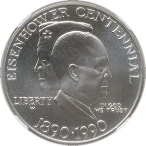 1990 W EISENHOWER S$1 MS obverse