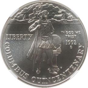 1992 D COLUMBUS S$1 MS obverse