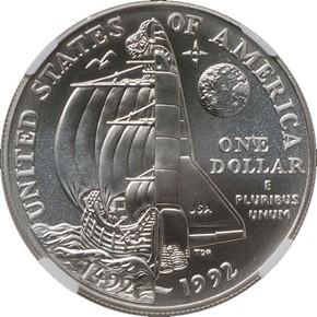 1992 D COLUMBUS S$1 MS reverse