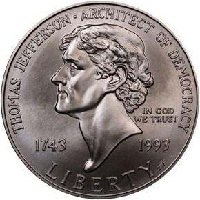 1993 P JEFFERSON S$1 MS obverse
