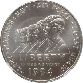 1994 W WOMEN VETERANS S$1 MS obverse