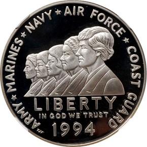 1994 P WOMEN VETERANS S$1 PF obverse