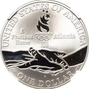 1995 P OLYMPICS CYCLING S$1 PF reverse