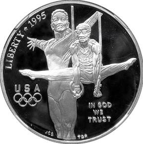 1995 P OLYMPICS GYMNASTICS S$1 PF obverse