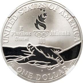 1995 P OLYMPICS TRACK & FIELD S$1 PF reverse