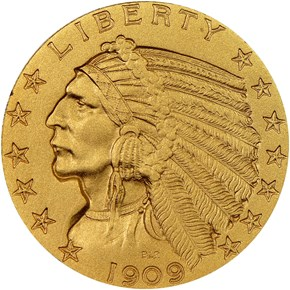 1909 $5 PF obverse