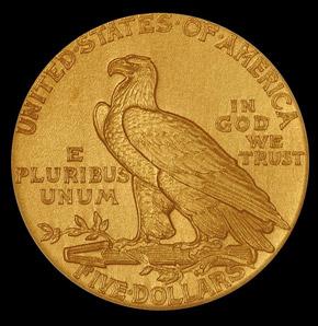 1909 $5 PF reverse