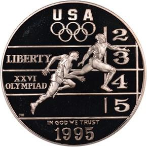 1995 P OLYMPICS TRACK & FIELD S$1 PF obverse