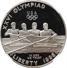 1996 P OLYMPICS ROWING S$1 PF obverse