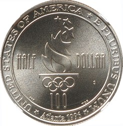 1996 S OLYMPICS SOCCER 50C MS reverse