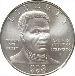 1998 S BLACK PATRIOTS S$1 MS obverse