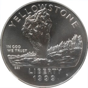 1999 P YELLOWSTONE S$1 MS obverse