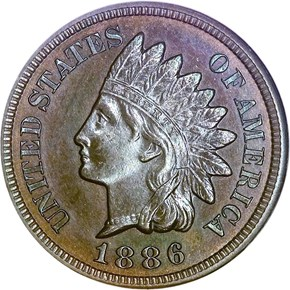 1886 TYPE 2 1C PF obverse