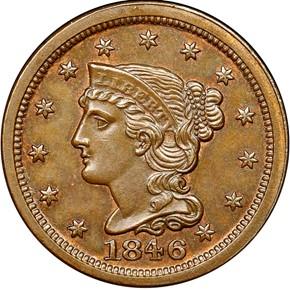 1846 1C MS obverse