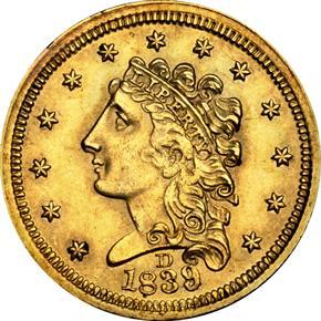 1839 D $2.5 MS obverse