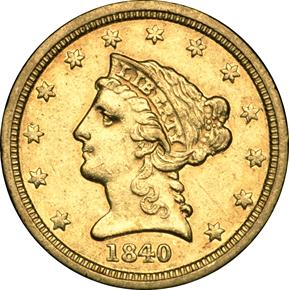 1840 D $2.5 MS obverse