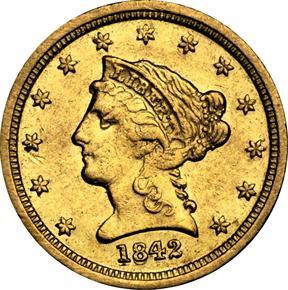 1842 D $2.5 MS obverse