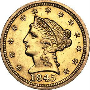 1845 D $2.5 MS obverse
